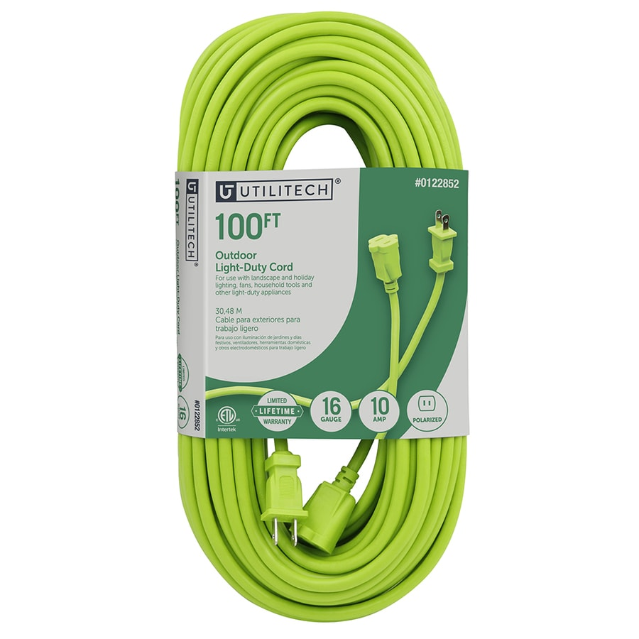 Shop Utilitech 100-ft 10-Amp 125-Volt 1-Outlet 16-Gauge Lime Green ...