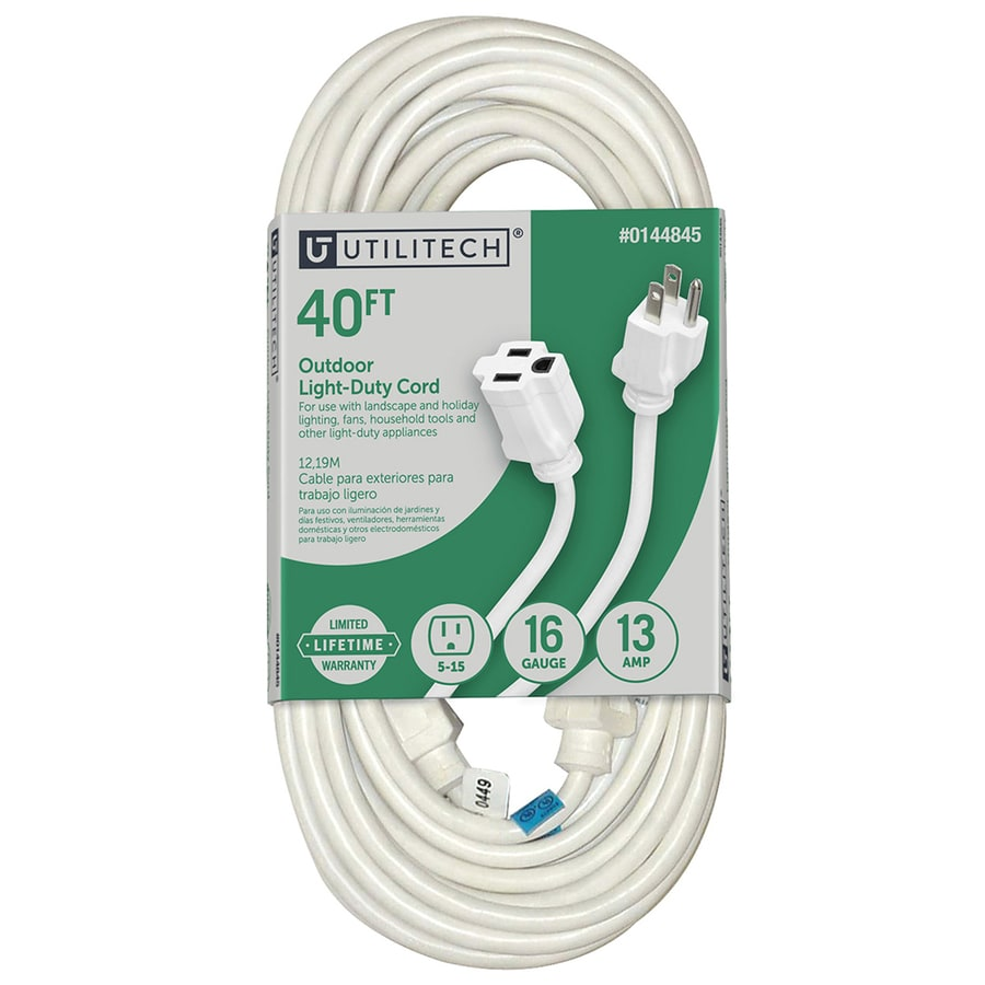 Utilitech 40 Ft 13 Amp 125 Volts White 16 3 SJTW General