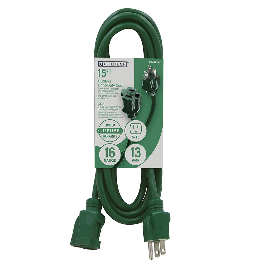 Utilitech 15-ft 13-Amp 120-Volt 1-Outlet 16-Gauge Green Outdoor Extension Cord