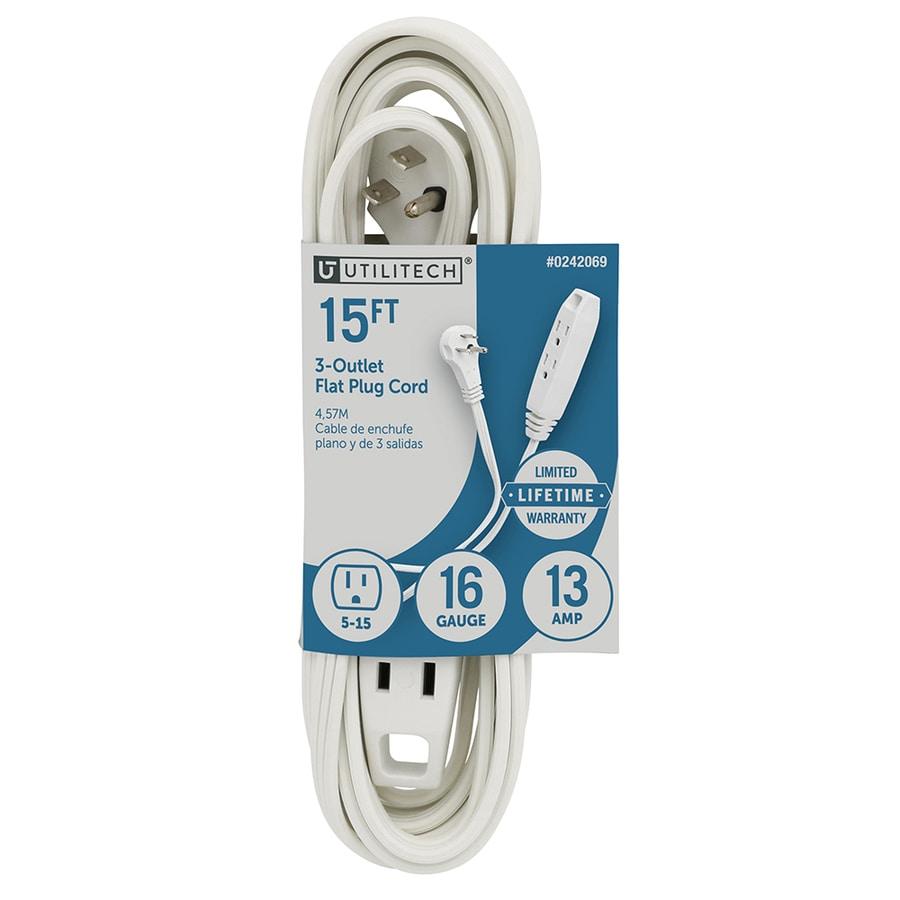 shop utilitech 15 ft 13 amp 125 volt 3 outlet 16 gauge white indoor flat plug extension cord at. Black Bedroom Furniture Sets. Home Design Ideas