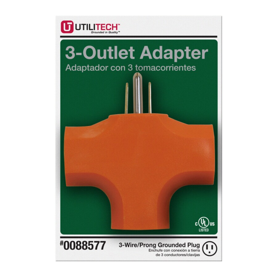 Utilitech 15-Amp 3-Wire Grounding Single to Triple Orange Basic Adapter