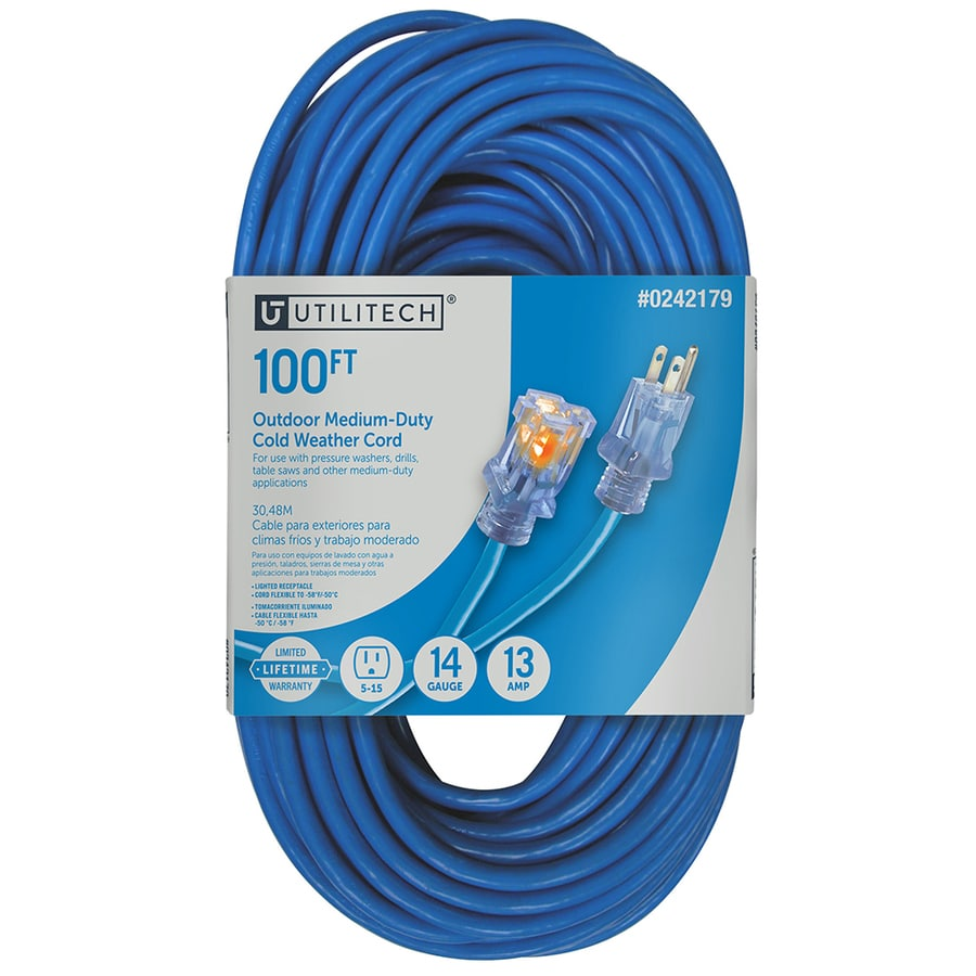 Utilitech 100-ft 13-Amp 120-Volt 1-Outlet 14-Gauge Blue Outdoor Cold Weather Extension Cord