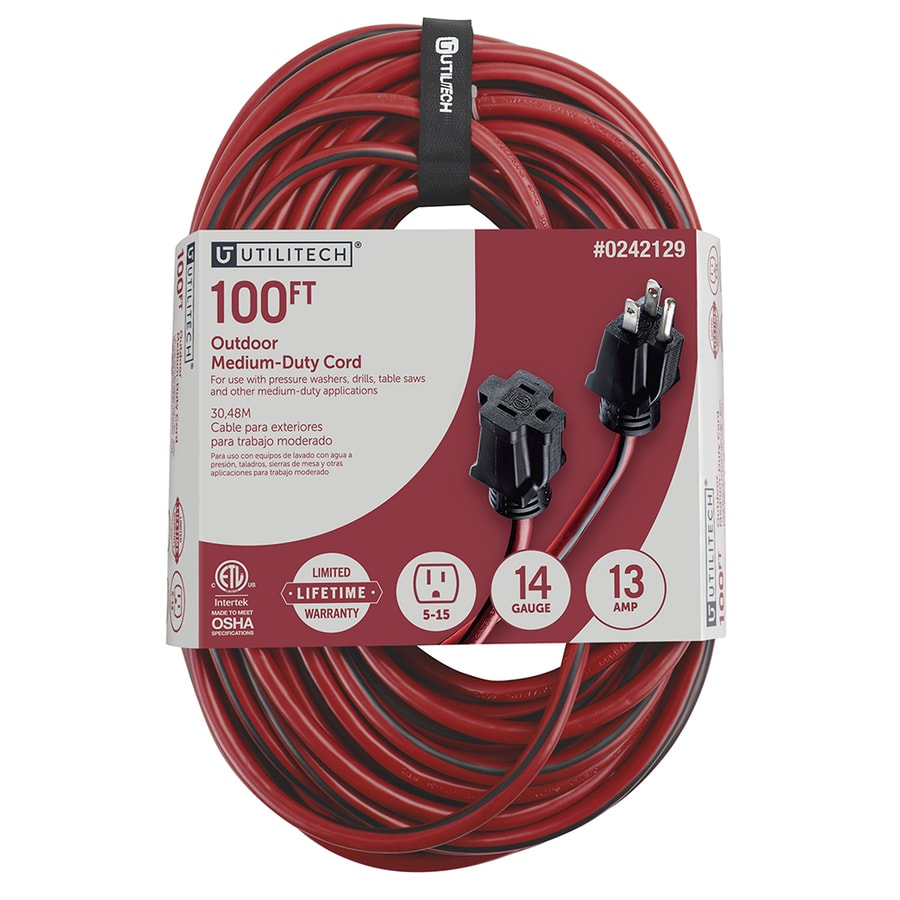Shop extension cords at lowes utilitech 100 ft 13 amp 125 volts red 143 sjtw landscape keyboard keysfo Choice Image