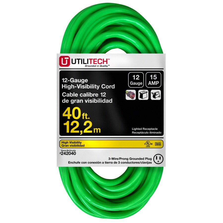 Utilitech 40 3 Sjtw Neon Green Outdoor Ext  Cord W