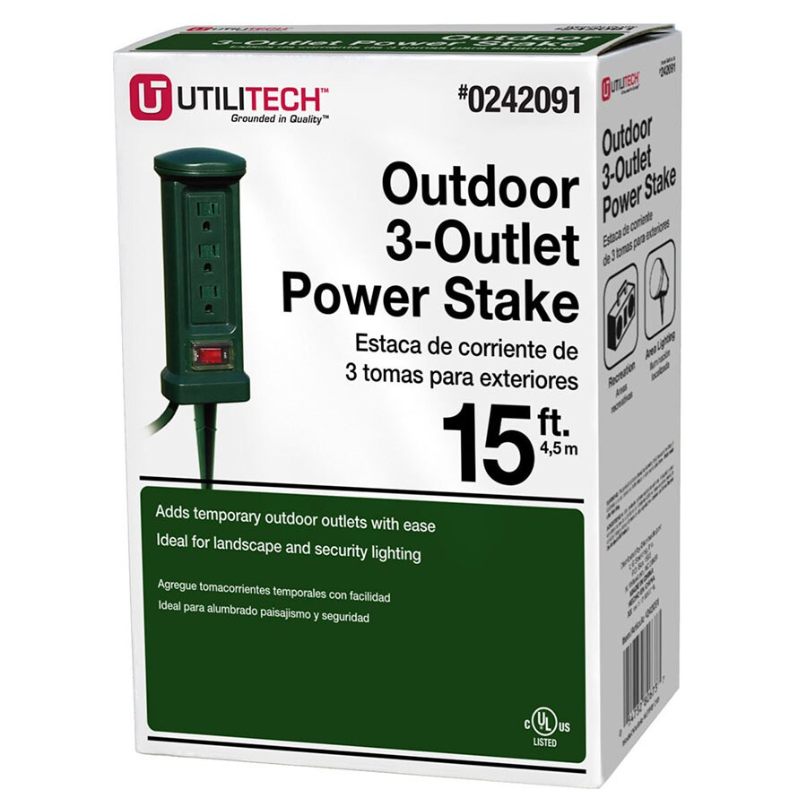 Outdoor Kitchen Electrical Outlet For Home Design Great: Utilitech 15-ft 3-Outlet Outdoor Power Stake At Lowes.com