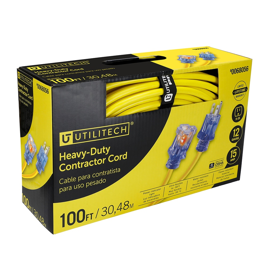 Utilitech 100-ft 15-Amp 125-Volt 1-Outlet 12-Gauge Yellow Outdoor Contractor Extension Cord