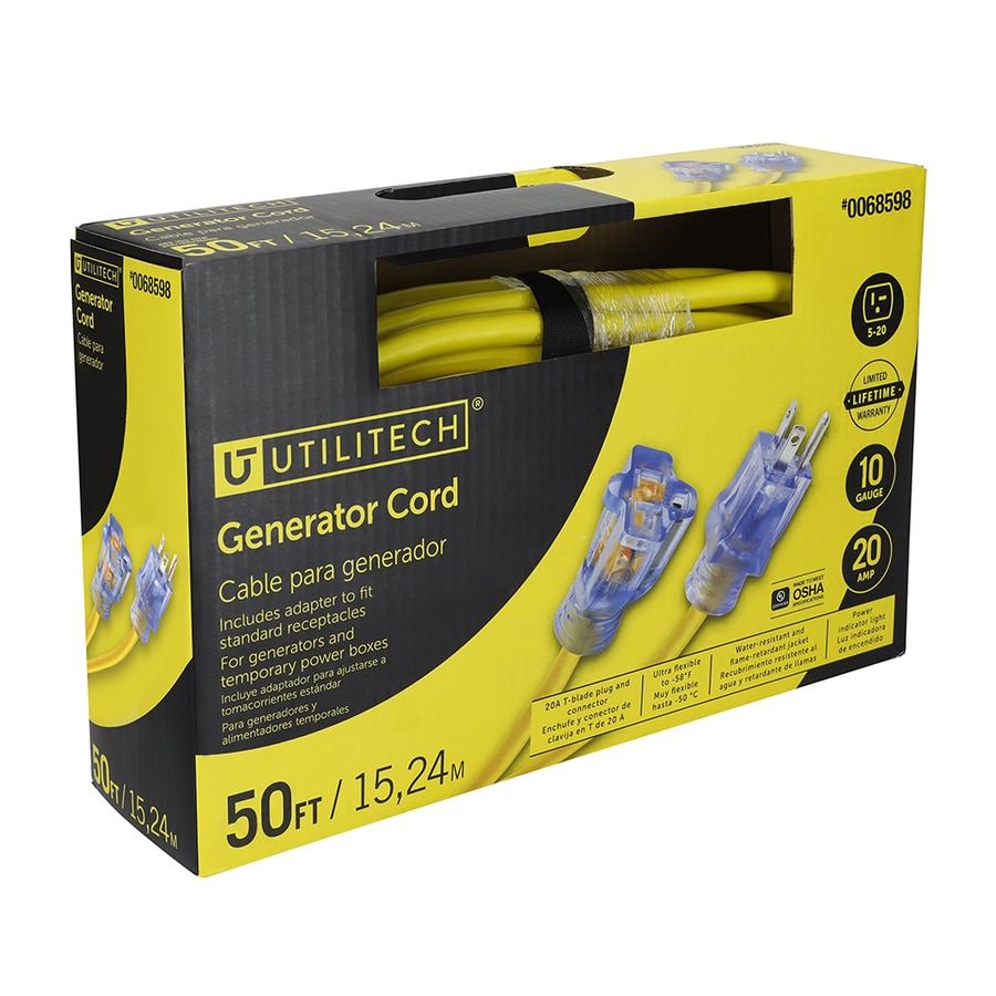 Shop Utilitech Pro 50 Ft 20 Amp 125 Volt 10 Gauge Yellow