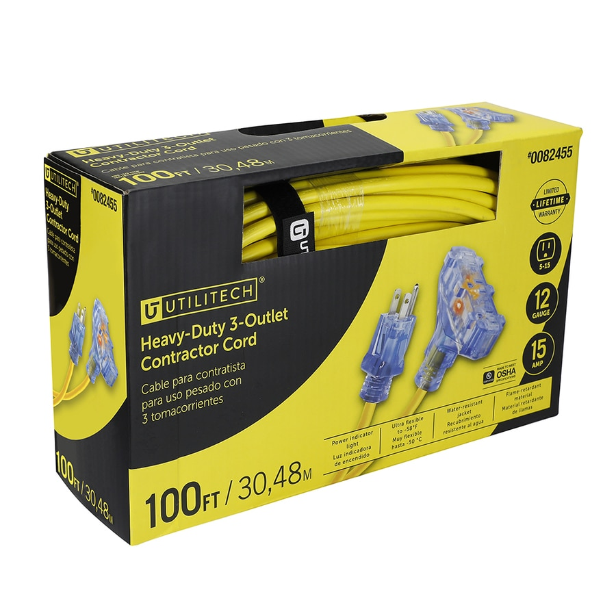 Utilitech Pro 100-ft 15-Amp 120-Volt 3-Outlet 12-Gauge Yellow Outdoor Contractor Extension Cord