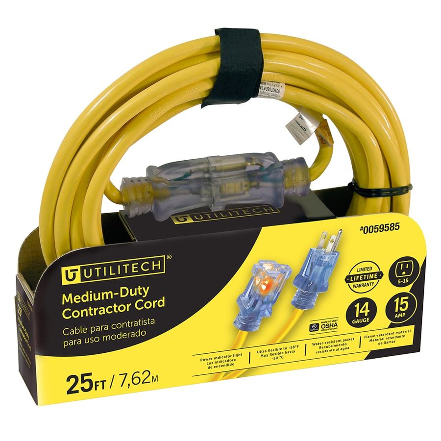Utilitech 25-ft 15-Amp 120-Volt 1-Outlet 14-Gauge Yellow Outdoor Extension Cord