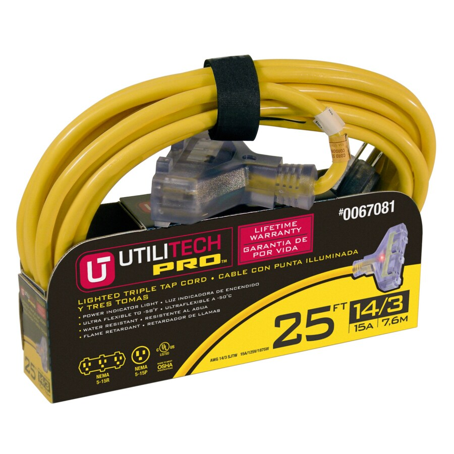 Utilitech 25-ft 15-Amp 3-Outlet 14-Gauge Yellow Outdoor Extension Cord