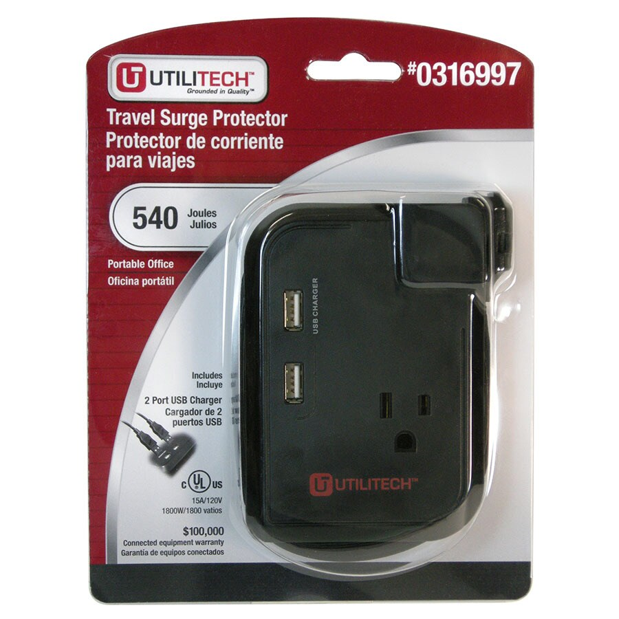 Utilitech 3-Outlet 540 Joules Home Office Surge Protector with Usb Charger Usb Charge (Auto-Off Safety)