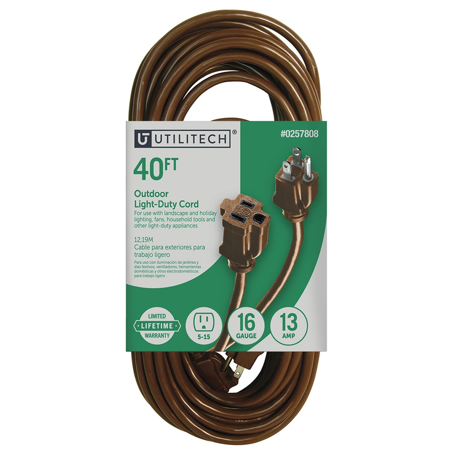 Extension Power Cords At Flat Electrical Wire Quality For Sale Utilitech 40 Ft 16 3 13 Amp General Cord