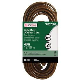 utilitech 40ft 13amp 1outlet 16gauge brown outdoor extension