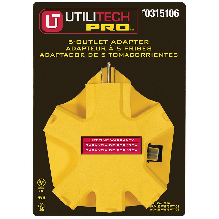 Utilitech 15-Amp 3-wire Grounding Single To Triple Yellow Adapter