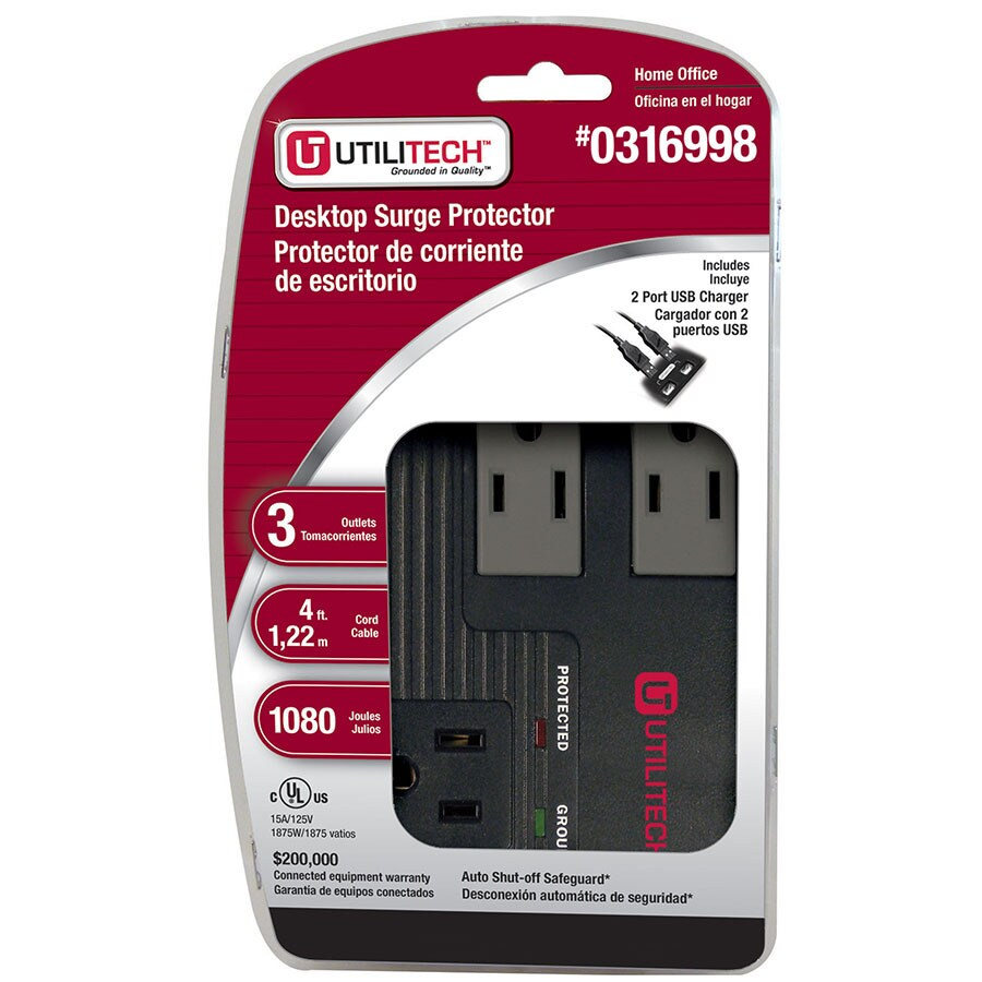 Utilitech 3-Outlet 1080 Joules General Use Surge Protector with Usb Charger Usb Charge (Auto-Off Safety)
