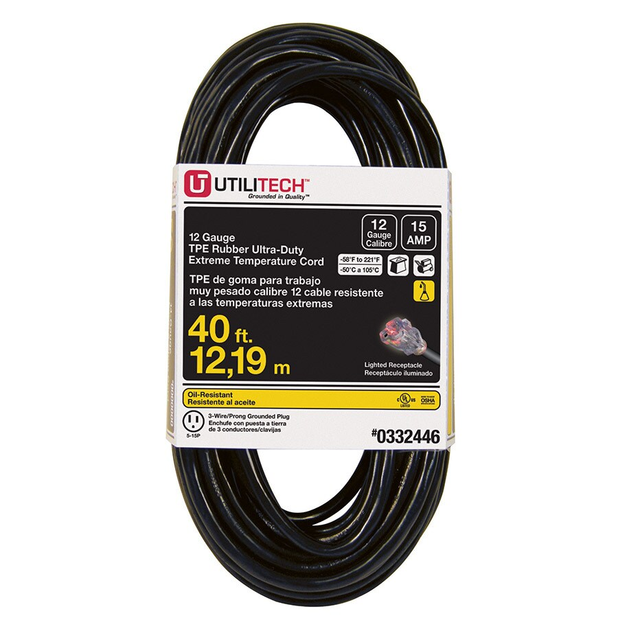 Utilitech 40-ft 15-Amp 12-Gauge Black Outdoor Extension Cord