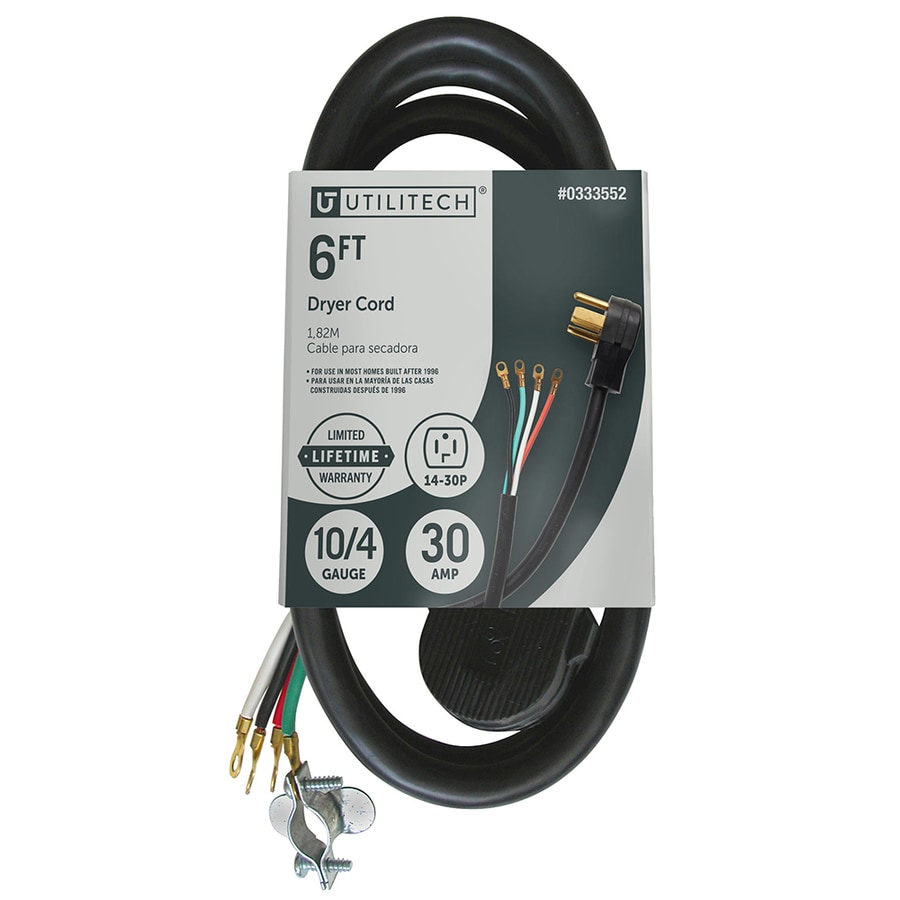 utilitech 6 ft 4 wire black dryer appliance power cord at lowes com