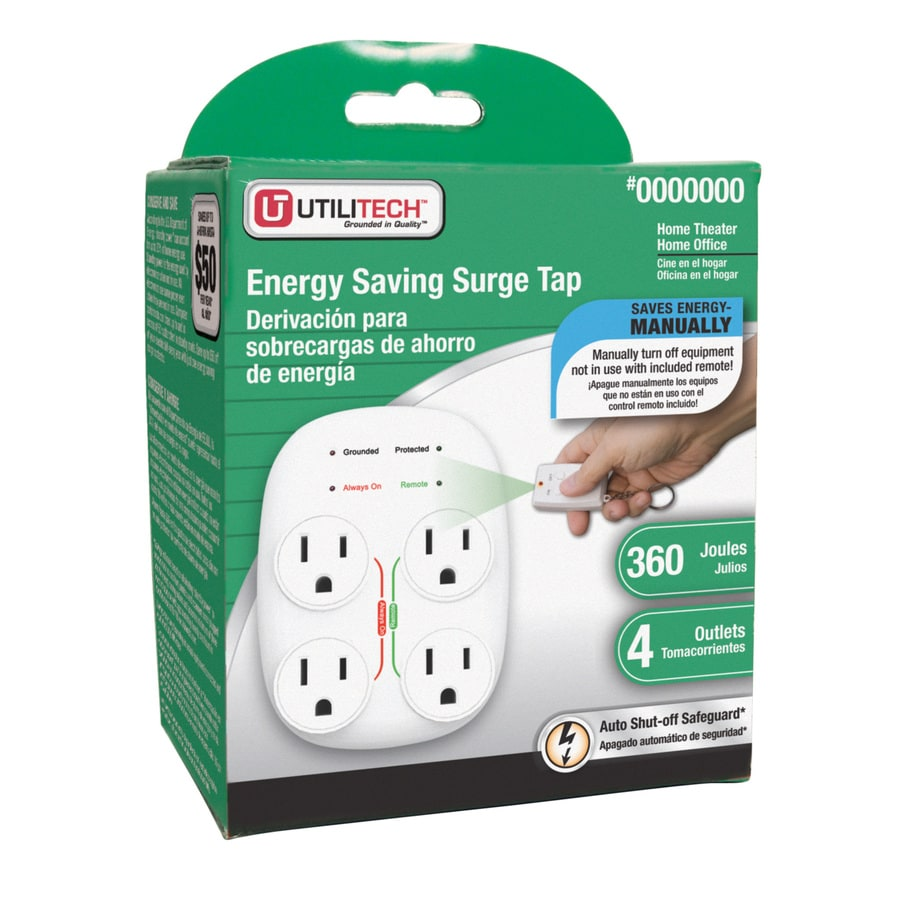 Utilitech 4-Outlet 360 Joules General Use Surge Protector (Auto-Off Safety)