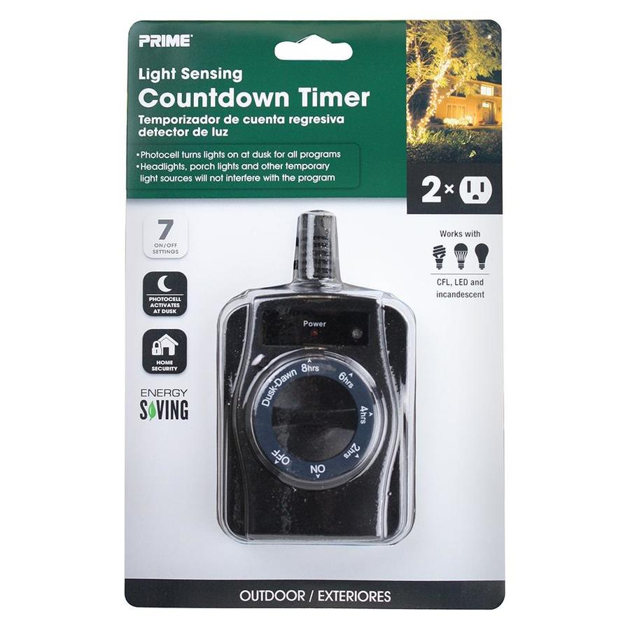PRIME 15-Amp 2-Outlet Mechanical Residential Plug-in Countdown Function Lighting  Timer - Shop Timers & Light Controls At Lowes.com