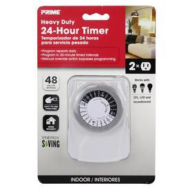 Outdoor Timer Lights: PRIME 15-Amp 2-Outlet Mechanical Residential Plug-in Countdown Lighting  Timer,Lighting