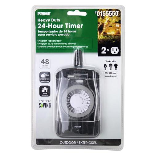 Prime 15 Amp 2 Outlet Mechanical Residential Plug In Countdown Lighting Timer At Lowes