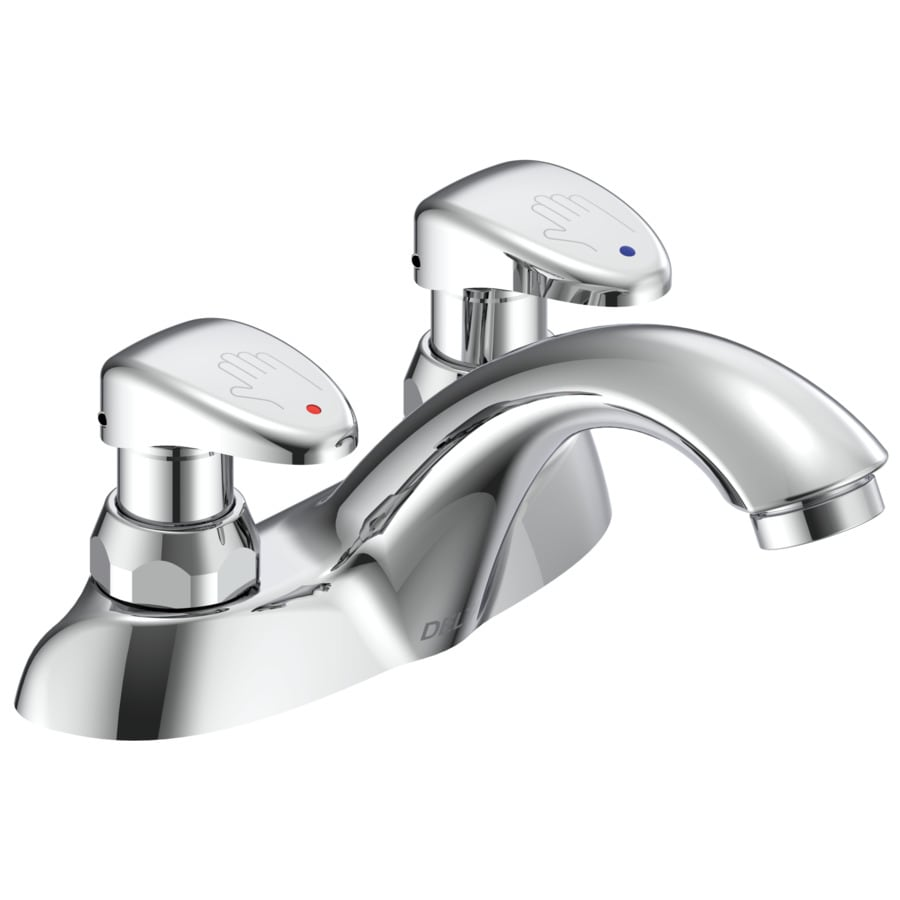 shop delta commercial chrome 2 handle 4 in centerset bathroom faucet