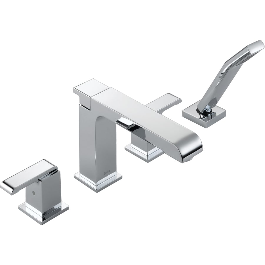 Delta Arzo Chrome 2-Handle Adjustable Deck Mount Bathtub Faucet
