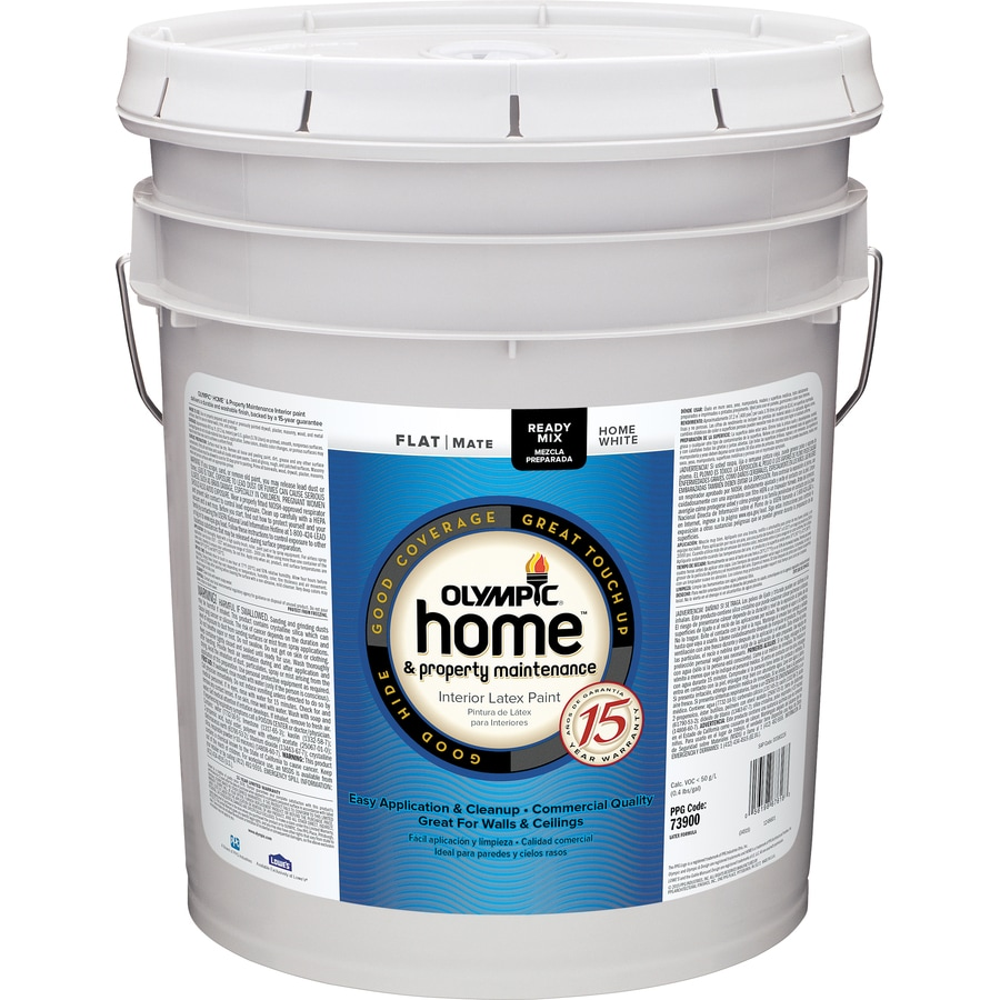 White Latex Paint : Shop olympic home white flat latex interior paint actual