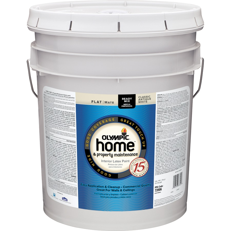 Shop Olympic Home White Flat Latex Interior Paint Actual