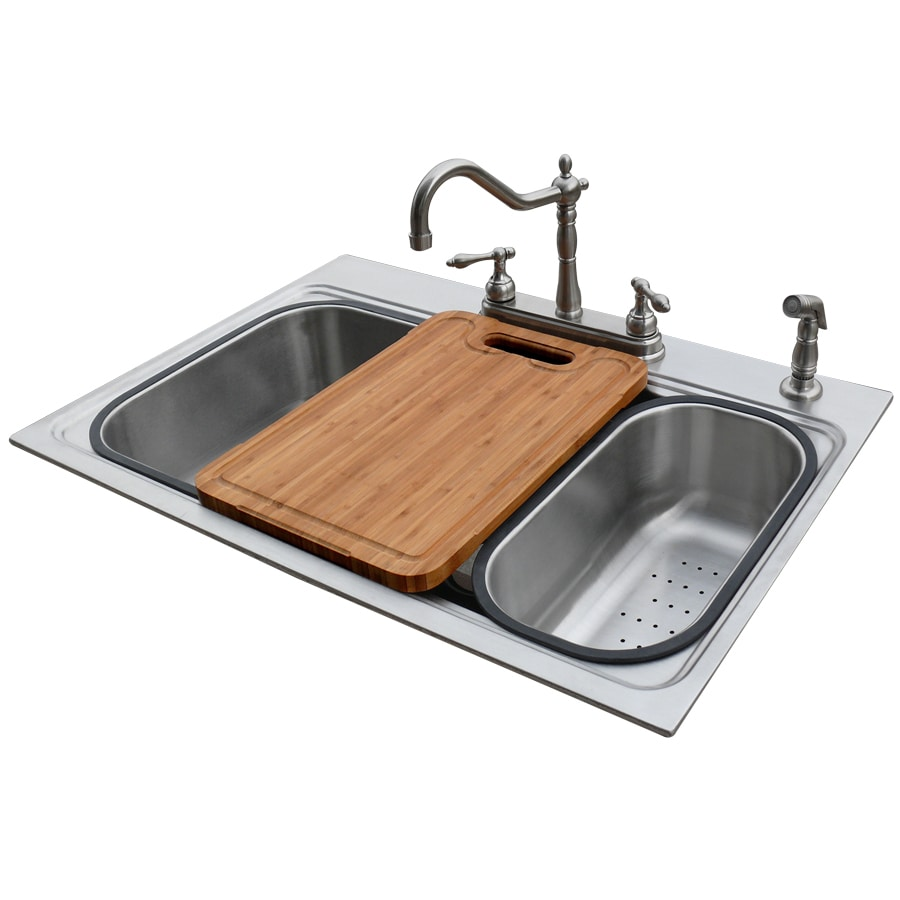 American Standard 22-in x 33-in Silver Single-Basin Drop-in or Undermount 4-Hole Commercial/Residential Kitchen Sink