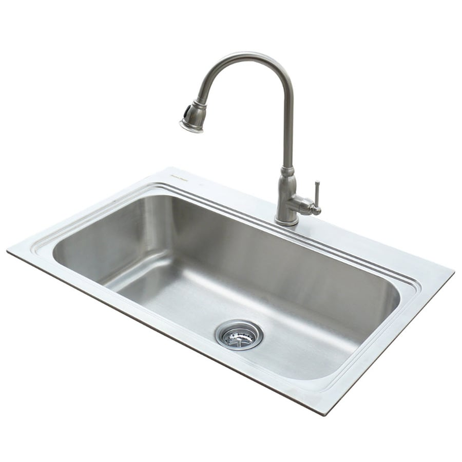 single stainless steel kitchen sink shop american standard 22 in x 33 in silver single basin 7965
