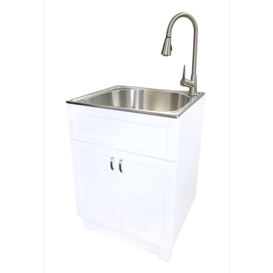 ... White Cabinet Freestanding Stainless Steel Utility Sink with Drain and