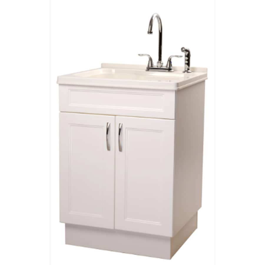 Transform 25 In X 22 1 Basin Abs White Freestanding Composite Utility Tub With Drain And Faucet