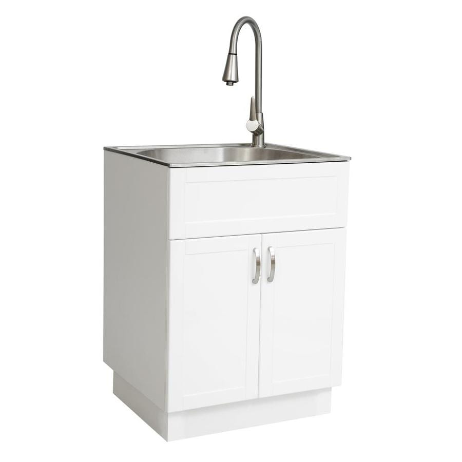 Transform 21 34 In X 24 17 1 Basin White Freestanding Stainless Steel Laundry