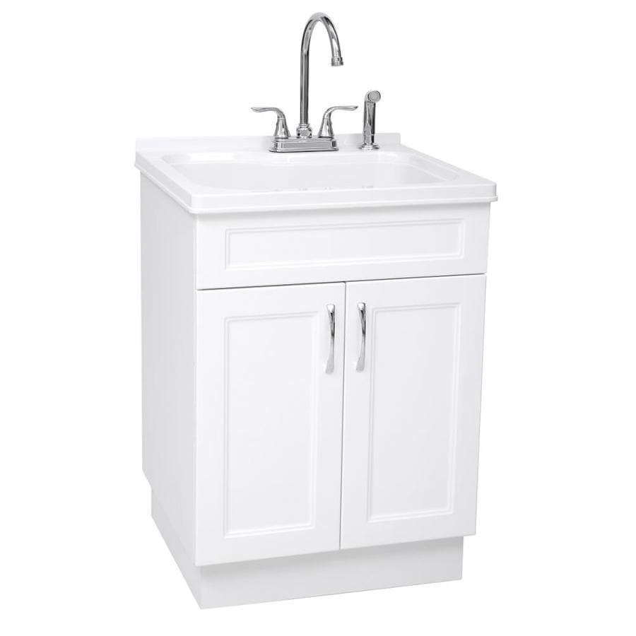 Transform 21 45 In X 24 1 Basin White Freestanding Abs Plastic Laundry Sink With And Faucet