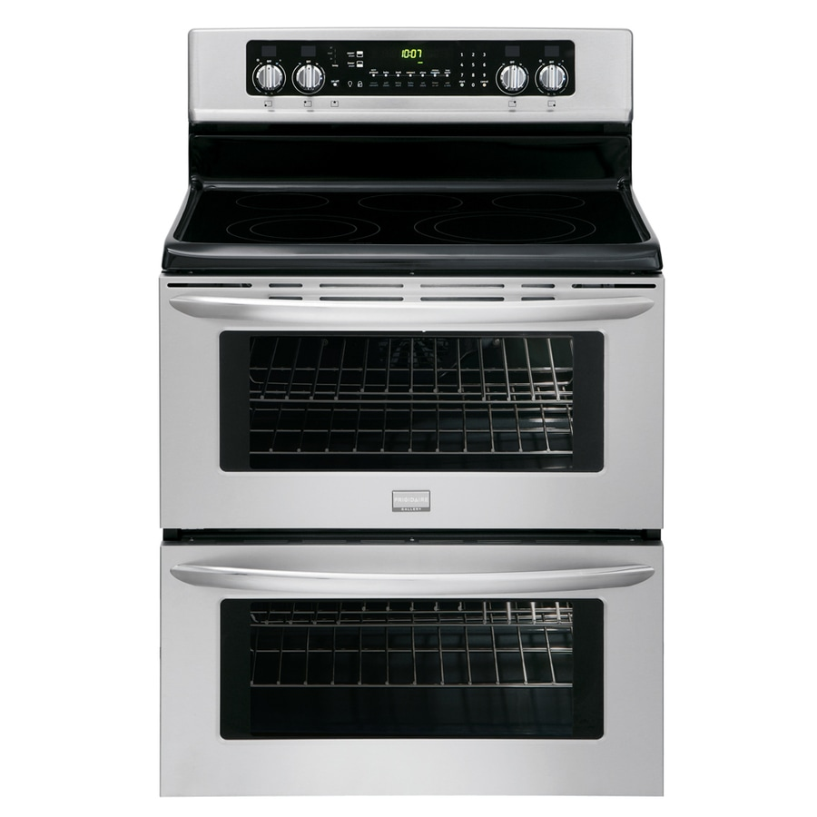 Frigidaire 30-in Smooth Surface 5-Element 3.5-cu ft/3.5-cu ft Self-Cleaning Double Oven Convection Electric Range (Stainless Steel)