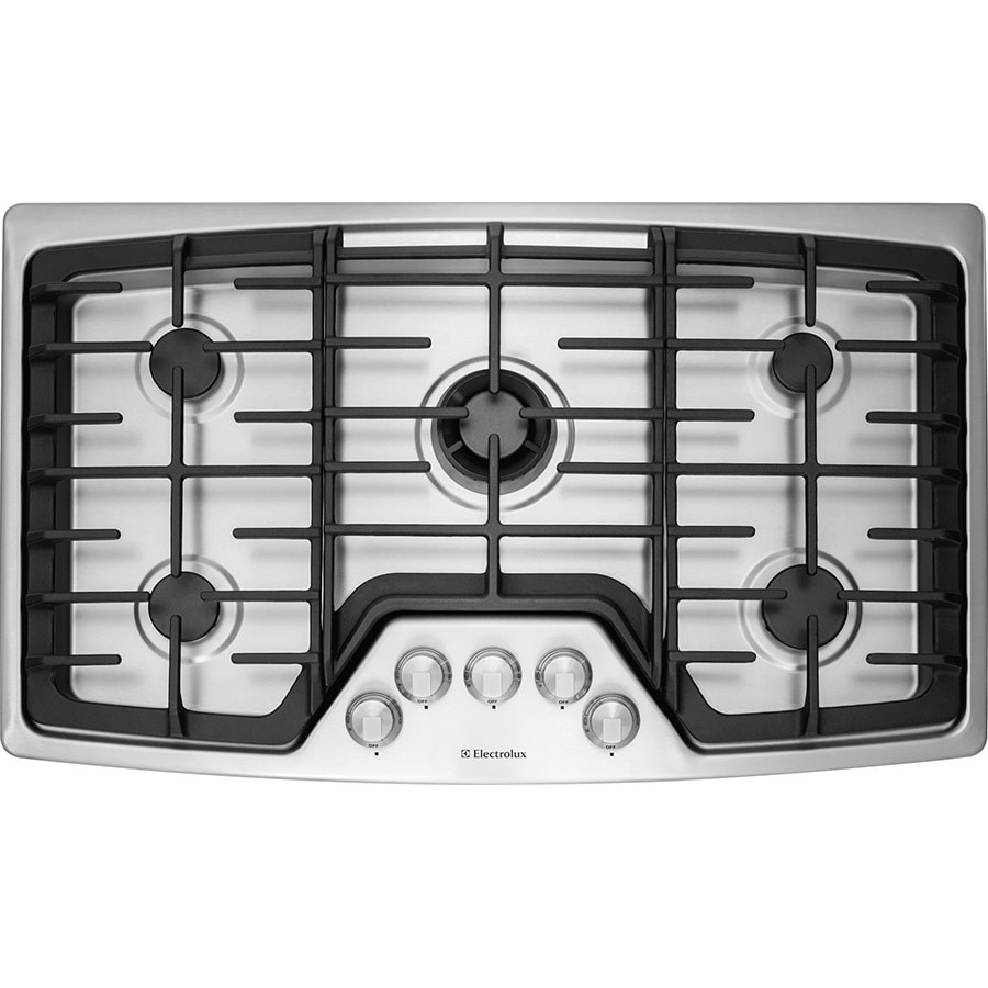 5 Burner Gas Cooktops: Electrolux 36-in 5-Burner Stainless Steel Gas Cooktop