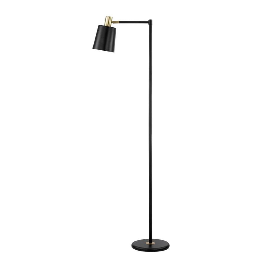 globe electric lex 60 in black foot switch shaded floor lamp with metal shade at. Black Bedroom Furniture Sets. Home Design Ideas