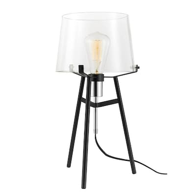 Globe Electric Lancaster 20 In Black Led Table Lamp With Glass Shade In The Table Lamps Department At Lowes Com