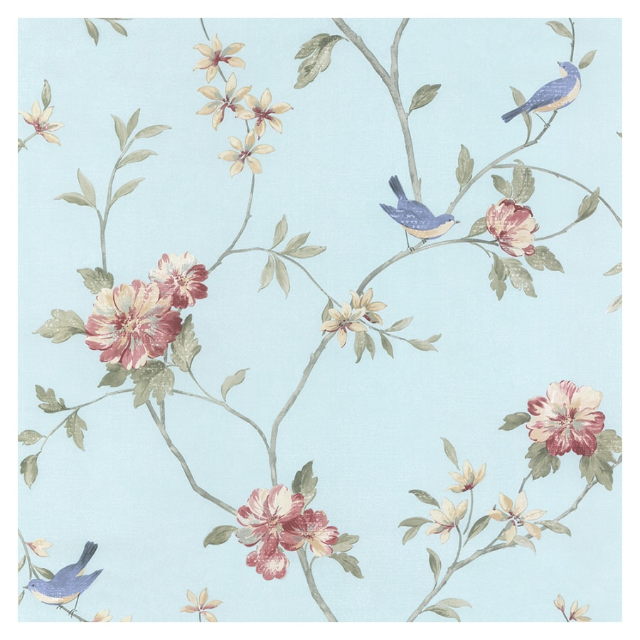 shop norwall floral bird wallpaper at lowes