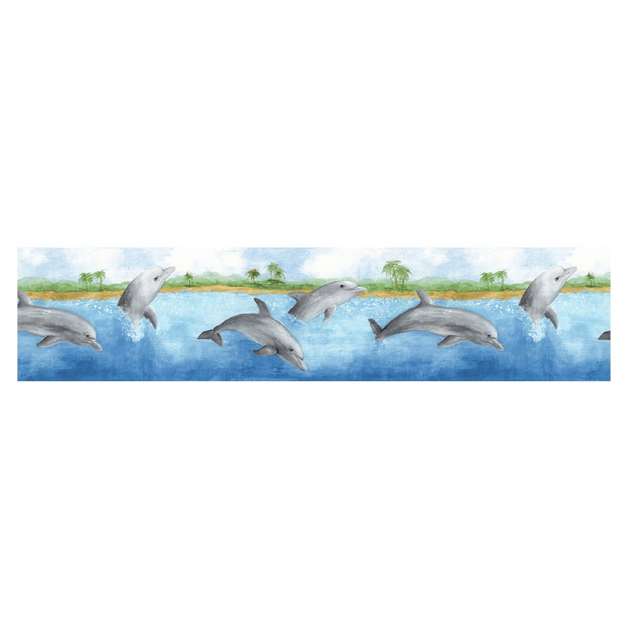 Shop norwall dolphin wallpaper border at for Wallpaper lowe s home improvement