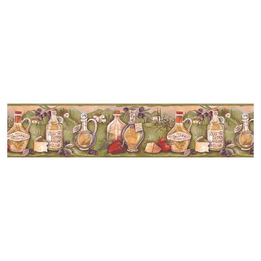 Shop norwall kitchen style olive oil wallpaper border at for Wallpaper lowe s home improvement