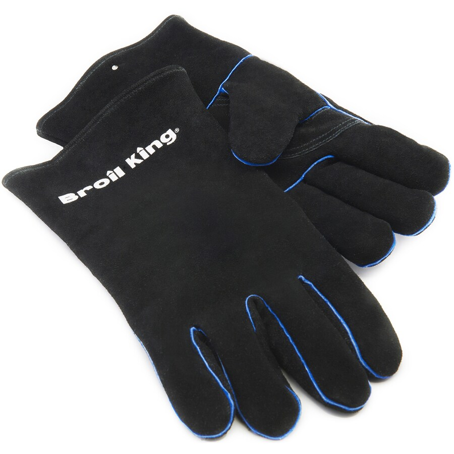 Broil King 2-Pack Black with Blue Accents Leather Flame Retardant Grill Gloves