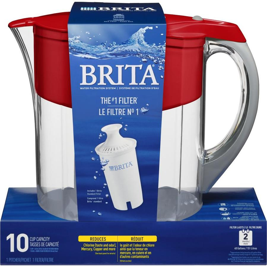Brita Grand Water Filtration Pitcher Red 10 cup