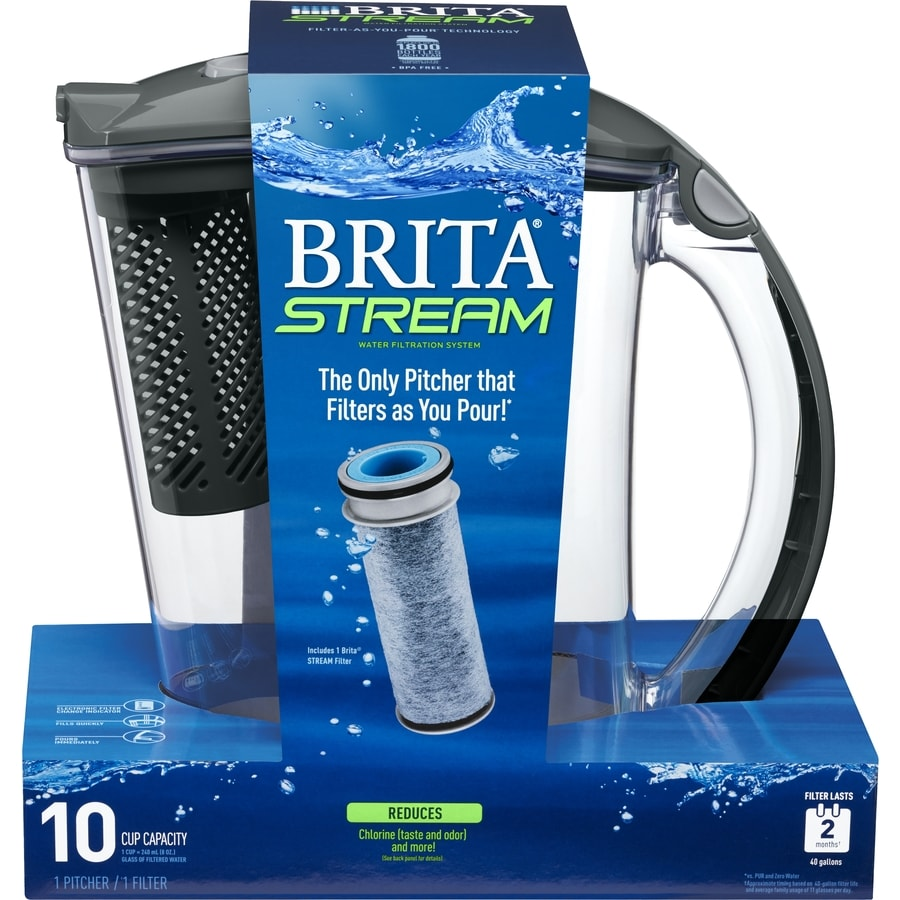 Brita Stream 10-cup Coconut Shell Carbon Gray Water Filter Pitcher