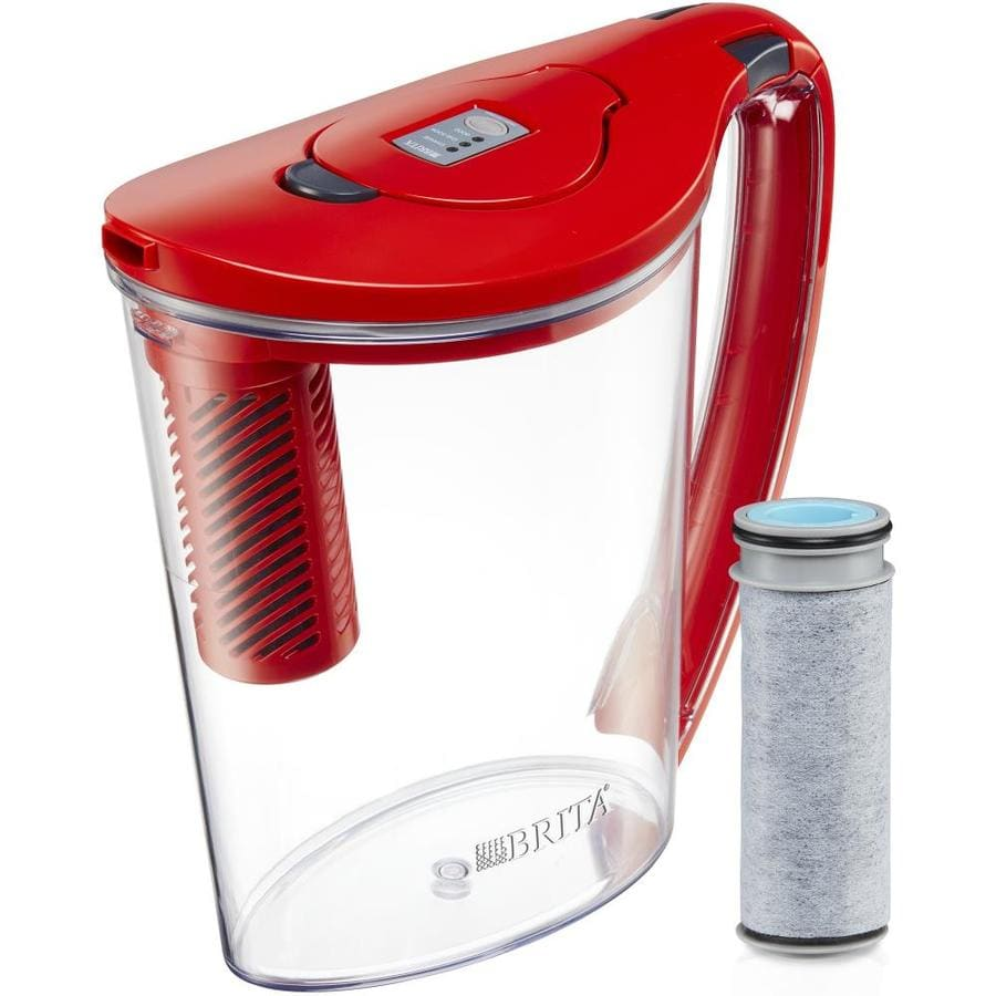 Brita Stream 18-cup Coconut Shell Carbon Red Water Filter Pitcher