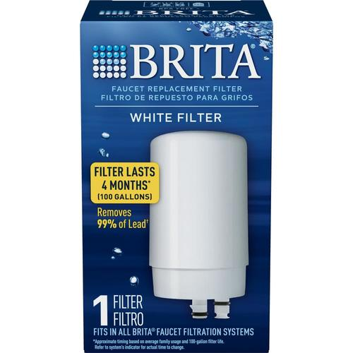 White Brita Tap Water Filtration System Set of 3 Replacement Filters for Faucets