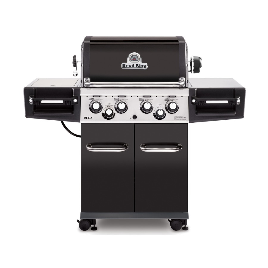 Broil King Regal Black and Black Chrome 4-Burner (50,000-BTU) Natural Gas Grill with Side and Rotisserie Burners