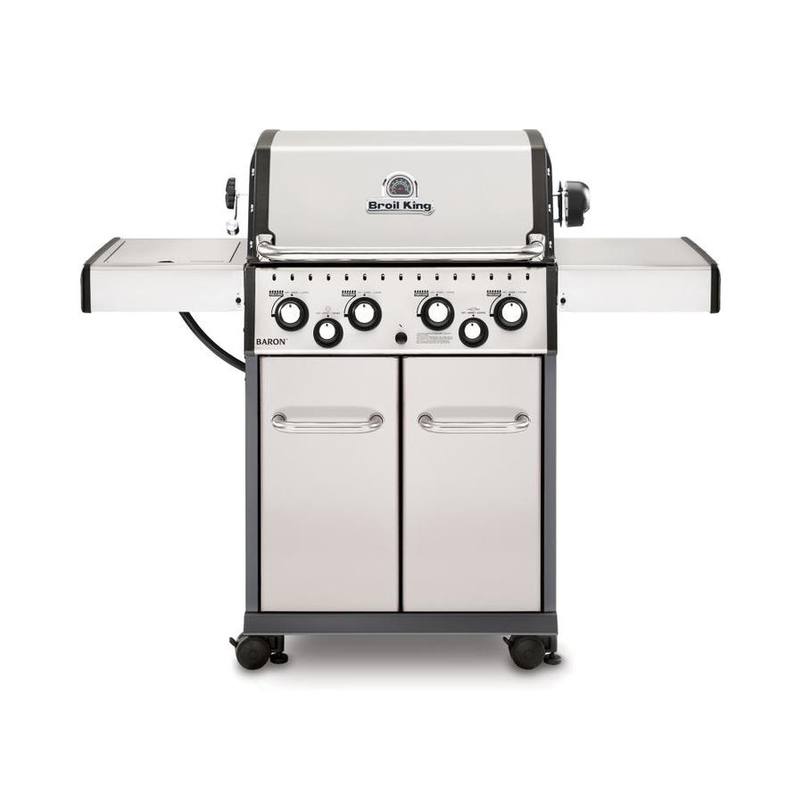 Broil King Baron S490 Stainless Steel 4-Burner Liquid Propane Gas Grill with 1 Side Rotisserie Burner