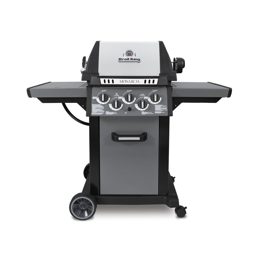Broil King Monarch 390 Black, Stainless Steel, Metallic Charcoal 3-Burner Liquid Propane Gas Grill with 1 Side Burner and Rotisserie Burner